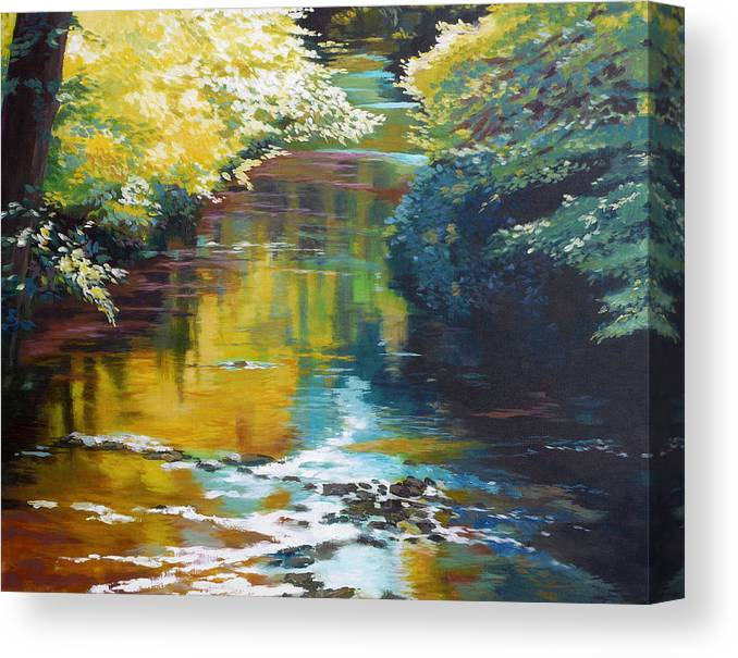 Creek Canvas Print featuring the painting South Fork Silver Creek No. 3 by Melody Cleary