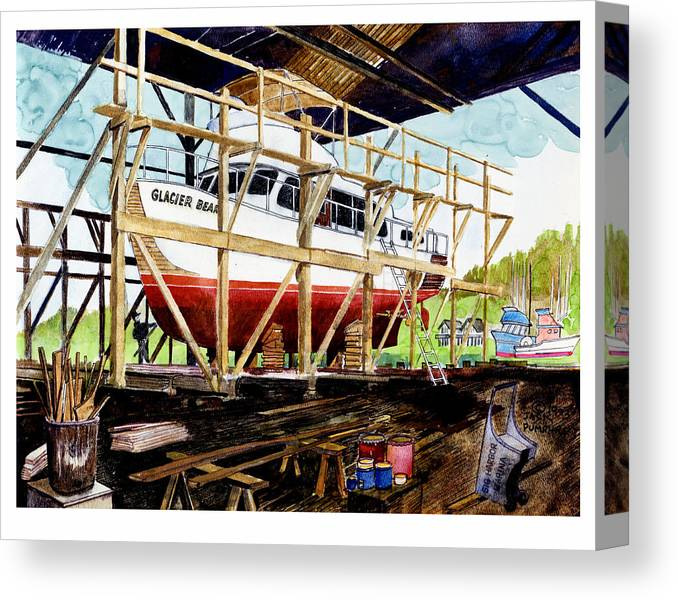 Marinas Canvas Print featuring the painting Yacht Glacier Bear Hauled Out In Gig Harbor by Jack Pumphrey