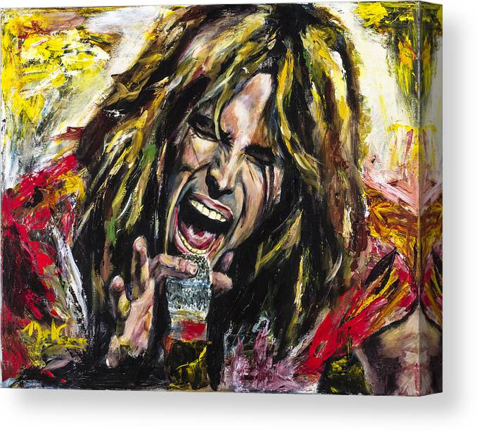 Steven Tyler Canvas Print featuring the painting Steven Tyler by Mark Courage