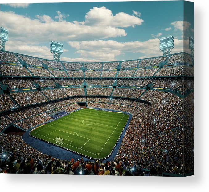 Event Canvas Print featuring the photograph Sunny Soccer Stadium Panorama by Dmytro Aksonov