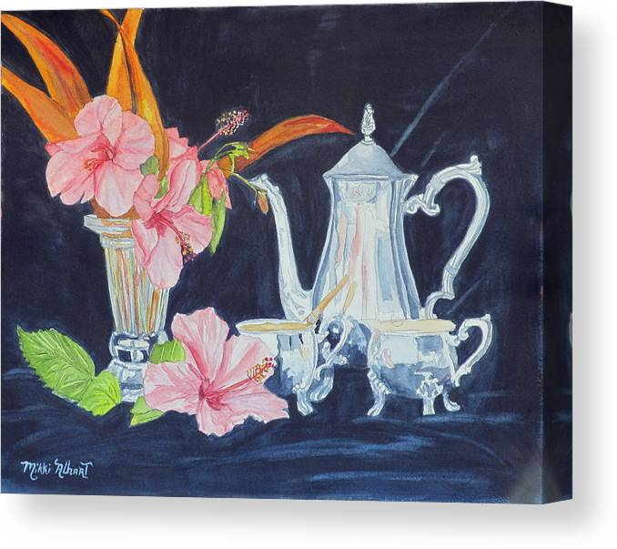 Tea Party Canvas Print featuring the painting Tea Party by Mikki Alhart