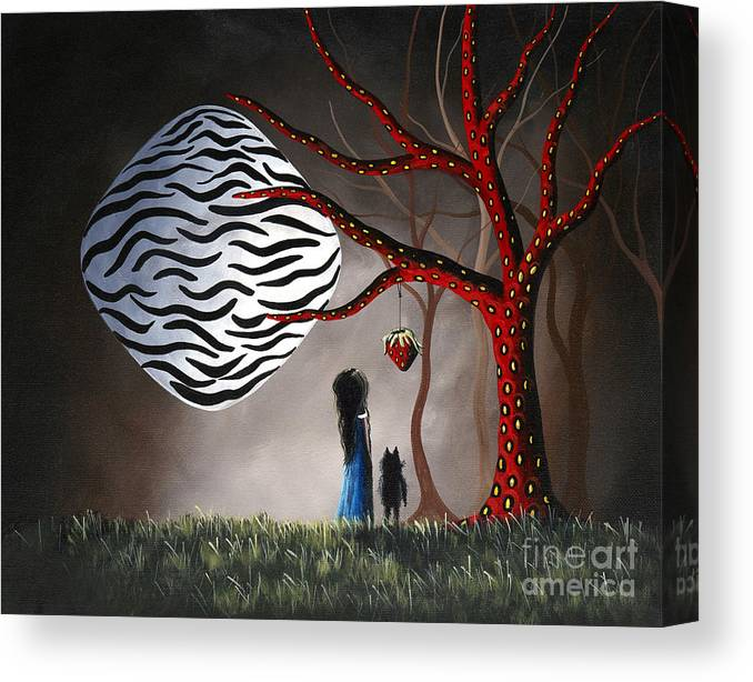 Moon Canvas Print featuring the painting The Bait by Shawna Erback by Fairy and Fairytale