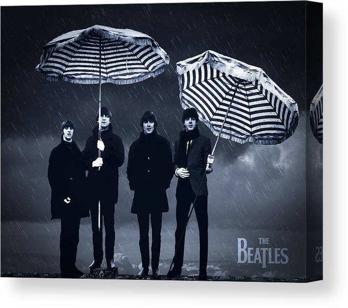 The Beatles Canvas Print featuring the digital art The Beatles in the rain by Aged Pixel