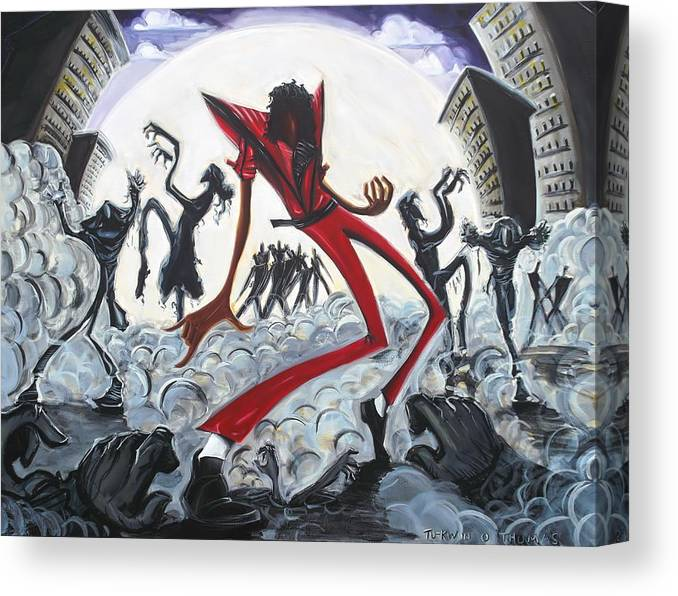 Thriller Canvas Print featuring the painting The Thriller V2 by Tu-Kwon Thomas
