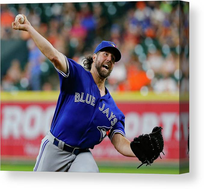 Three Quarter Length Canvas Print featuring the photograph Toronto Blue Jays V Houston Astros by Bob Levey