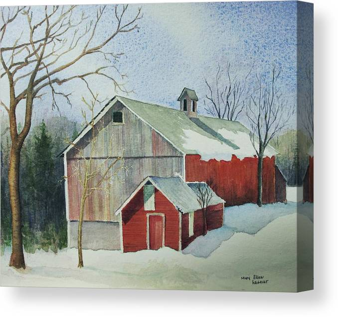 Christmas Card Canvas Print featuring the painting Williston Barn by Mary Ellen Mueller Legault
