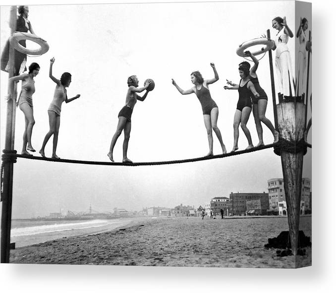 1035-671 Canvas Print featuring the photograph Women Play Beach Basketball by Underwood Archives