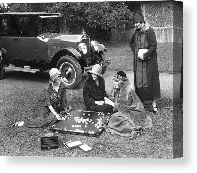 1920s Canvas Print featuring the photograph Women Playing Mahjong by Underwood Archives