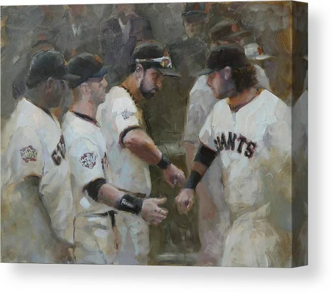 Sf Giants Canvas Print featuring the painting World Series Fist Bump by Darren Kerr