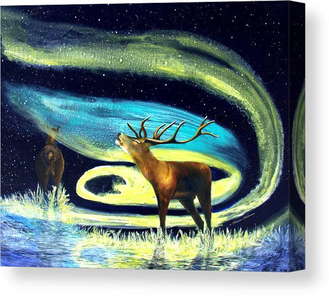 Alaska Canvas Print featuring the painting Aurora Swirls by Dianne Roberson