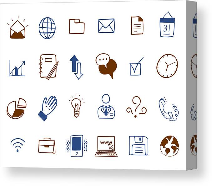 Horizontal Canvas Print featuring the digital art Business Icon Set by Eastnine Inc.