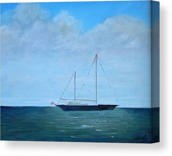 Cruising Sailboat Boat Ocean Sea Boating Mast Vessel Ship Sloop Cutter Catboat Schooner Hull Keel Flag Blue Green Sky Cloud Canvas Print featuring the painting Cruising Sailboat by Patricia Caldwell