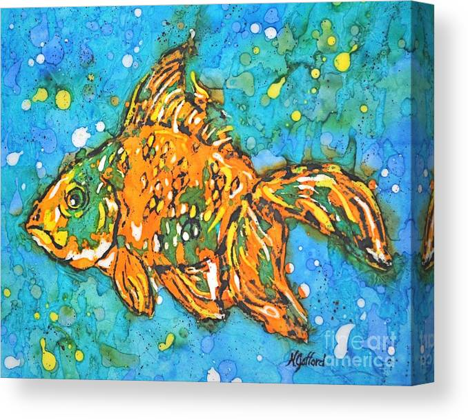 Painting Canvas Print featuring the painting Goldfish by Norma Gafford