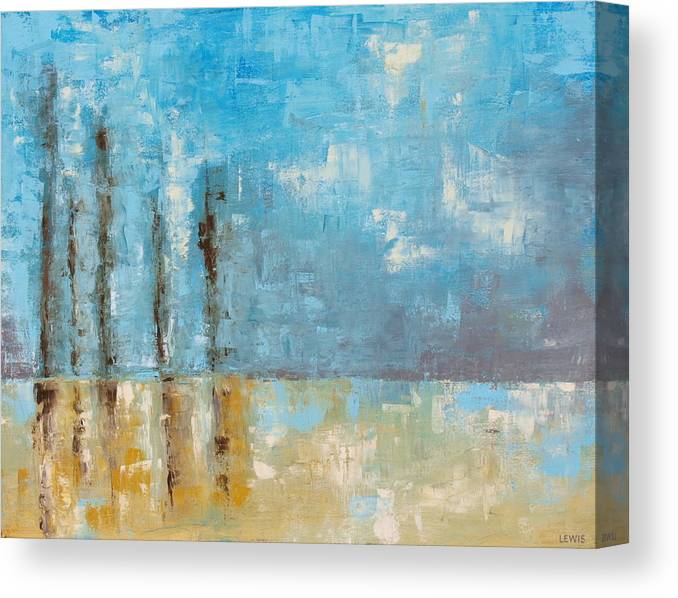 Blue Canvas Print featuring the painting Reside by Ellen Lewis