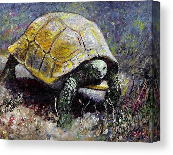 Turtle Nature Desert Green Wildlife Animal Shell Tortoise Canvas Print featuring the painting Turtle by Rust Dill