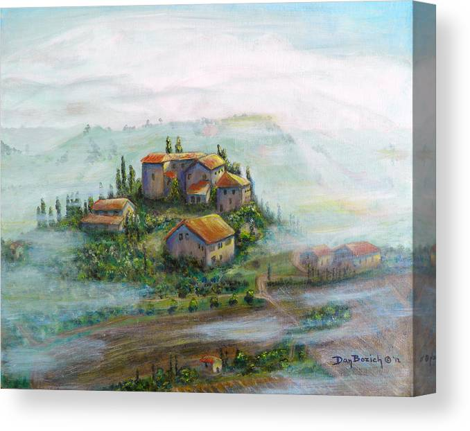 Landscape Canvas Print featuring the painting Tuscany Sun-Break by Dan Bozich