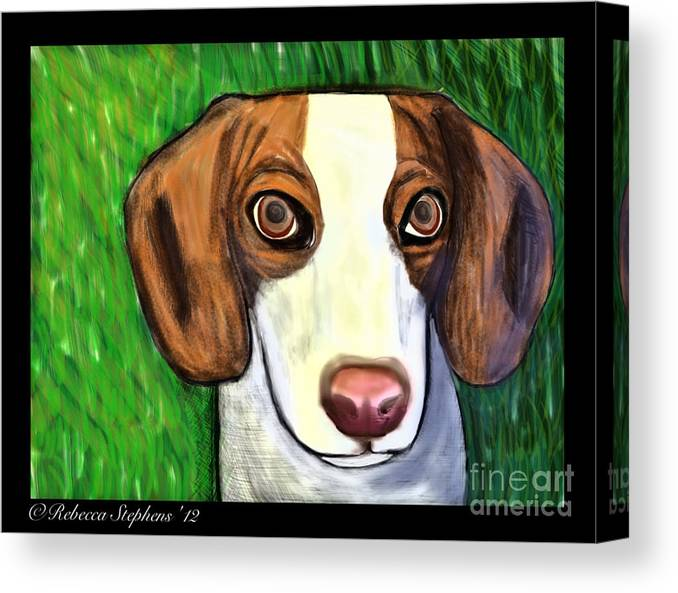 Beagle Canvas Print featuring the painting Wee Beagle by Rebecca Stephens