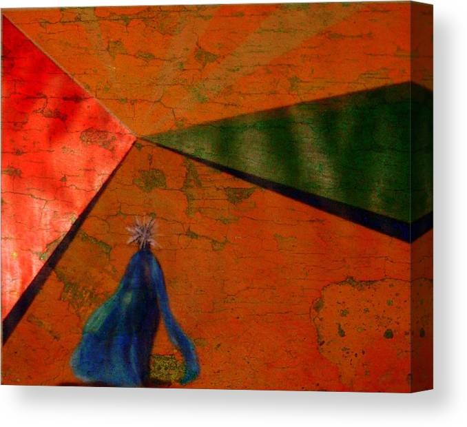 Digital Rendering Of Acrylic On Canvas Paper Canvas Print featuring the digital art Woman in blue by Joseph Ferguson