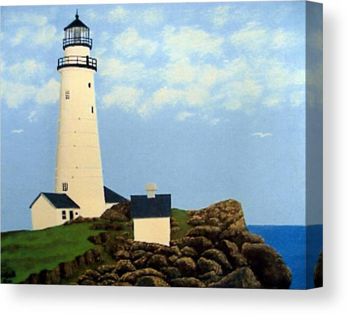 Lighthouse Paintings Canvas Print featuring the painting Boston Harbor Lighthouse by Frederic Kohli