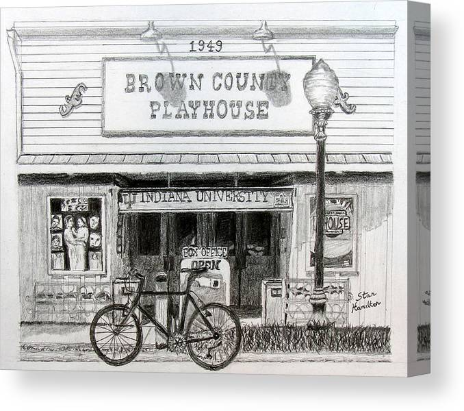 Bicycle Canvas Print featuring the drawing Brown County Playhouse by Stan Hamilton