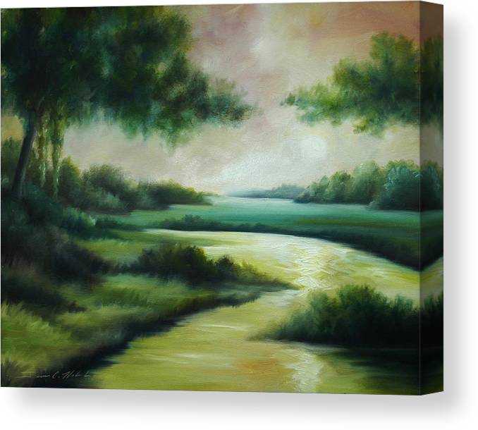 Bright Clouds; Sunsets; Reflections; Ocean; Water; Purple; Orange; Storms; Lightning; Contemporary; Abstract; Realism; James Christopher Hill; James Hill Studios; James C. Hilll; Forest; Flowers; Trees; Green; River; Water Canvas Print featuring the painting Emerald Forest by James Christopher Hill