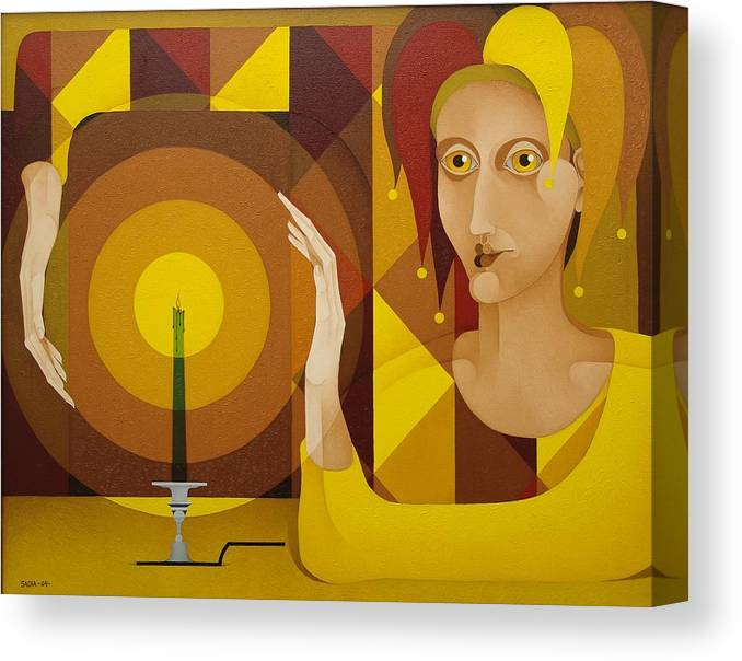 Sacha Sacha Circulism Circulismo Canvas Print featuring the painting Harlequin With Candle  2004 by S A C H A - Circulism Technique