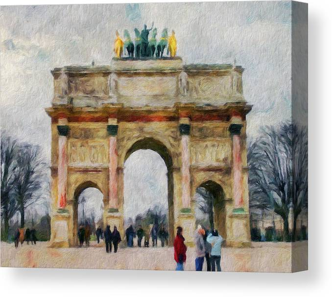 Paris Canvas Print featuring the digital art Paris Arc by Yury Malkov
