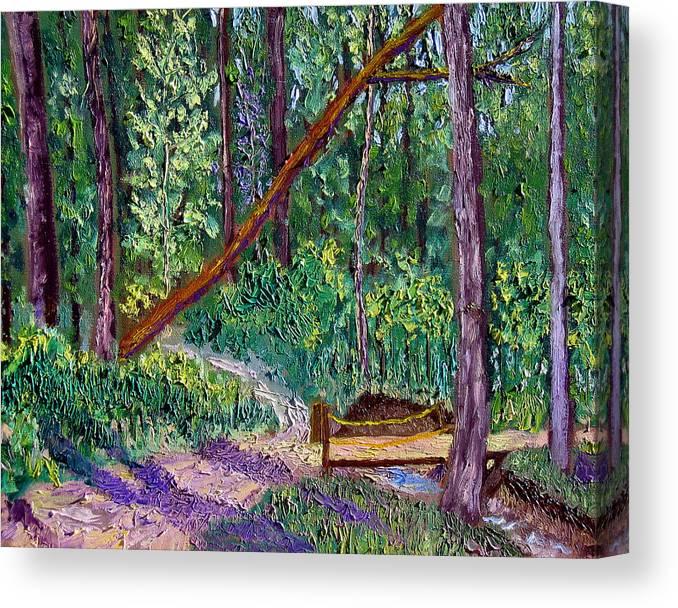 Landscape Canvas Print featuring the painting SEWP Trail Bridge by Stan Hamilton