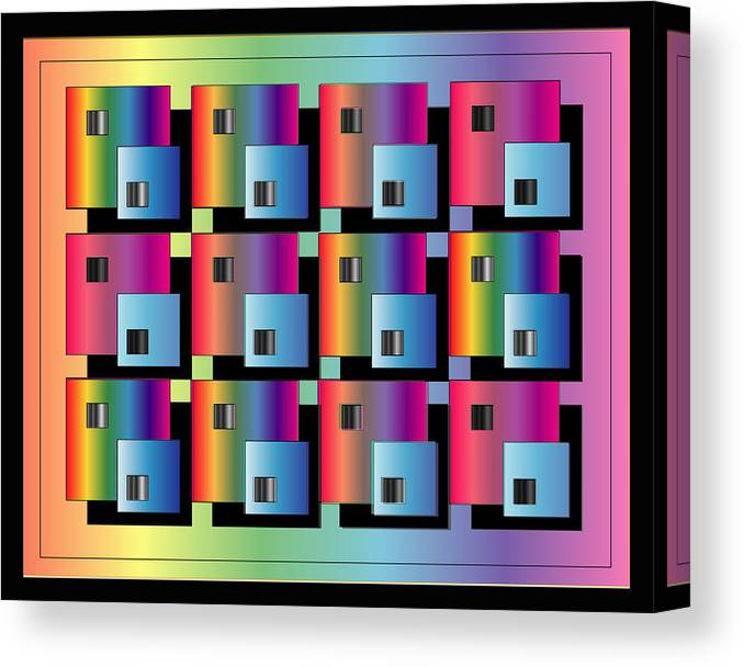 Abstract Canvas Print featuring the digital art Squares by George Pasini