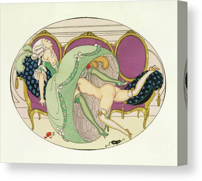 Lover Canvas Print featuring the drawing The Crinoline by Gerda Marie Frederike Wegener