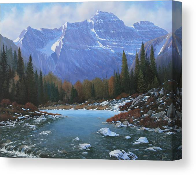 Rocky Mountain Landscape Canvas Print featuring the painting 100129-4860 Winters Early Arrival by Kenneth Shanika