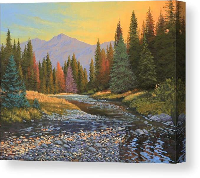 Sunrise Canvas Print featuring the painting 100808-1620  The Kiss of Dawn by Kenneth Shanika