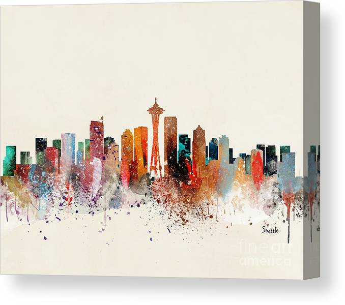 Seattle Cityscape Canvas Print featuring the painting Seattle Skyline by Bri Buckley