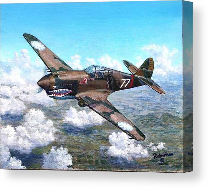 R. T. Smith's Number 77 Over Kunming Canvas Print featuring the painting Flying Tiger over China by Scott Robertson