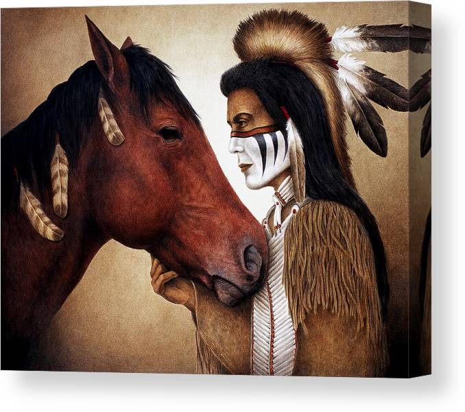 Horse Canvas Print featuring the painting A Conversation by Pat Erickson