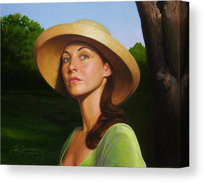 Figurative Canvas Print featuring the painting A Warm Gaze by Gary Hernandez