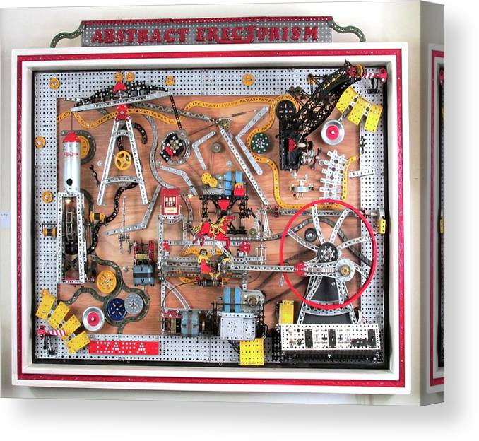 Erector Set Canvas Print featuring the sculpture Abstract Erectorism by Bill Czappa