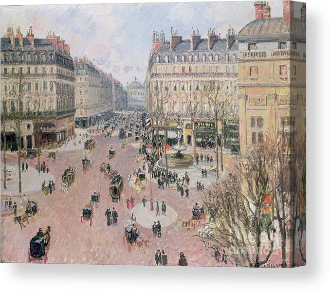 Place Canvas Print featuring the painting Afternoon Sun in Winter by Camille Pissarro