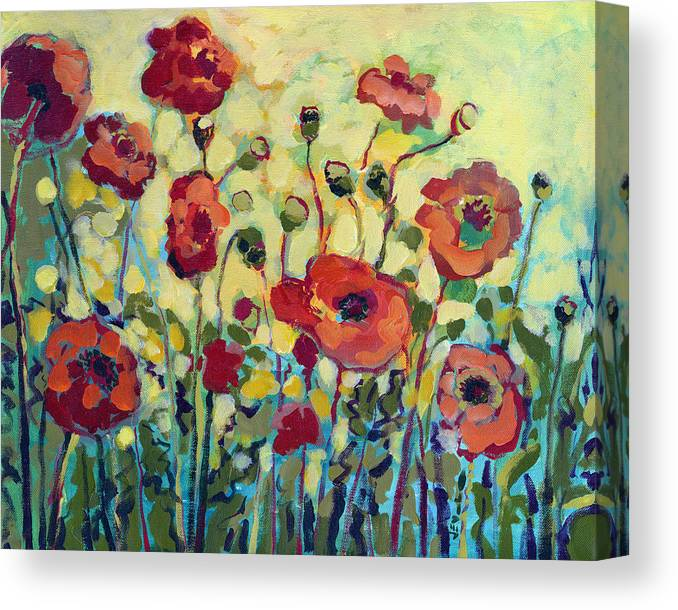 Poppy Canvas Print featuring the painting Anitas Poppies by Jennifer Lommers