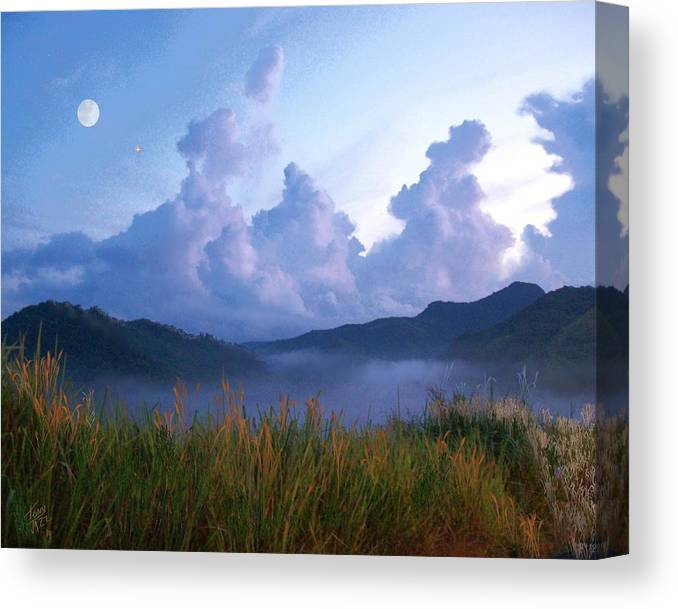 Full Moon And Mars Canvas Print featuring the digital art August Moon by Tony Rodriguez