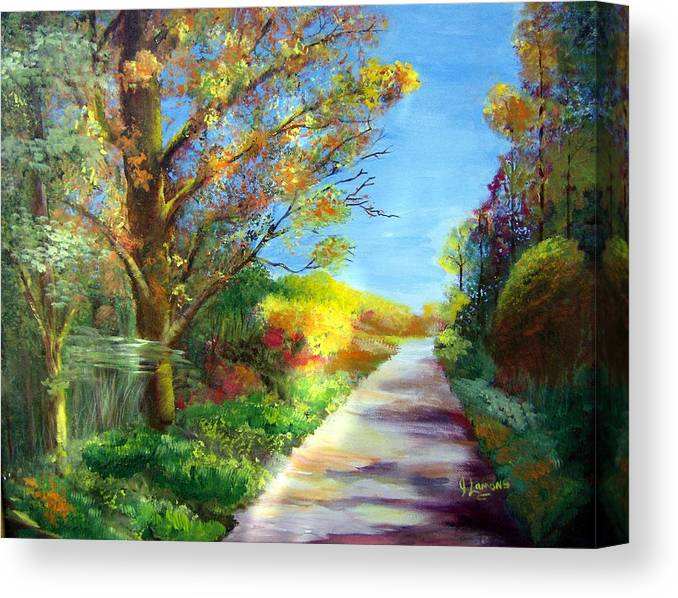 Landscape Canvas Print featuring the painting Autumn Roads by Julie Lamons