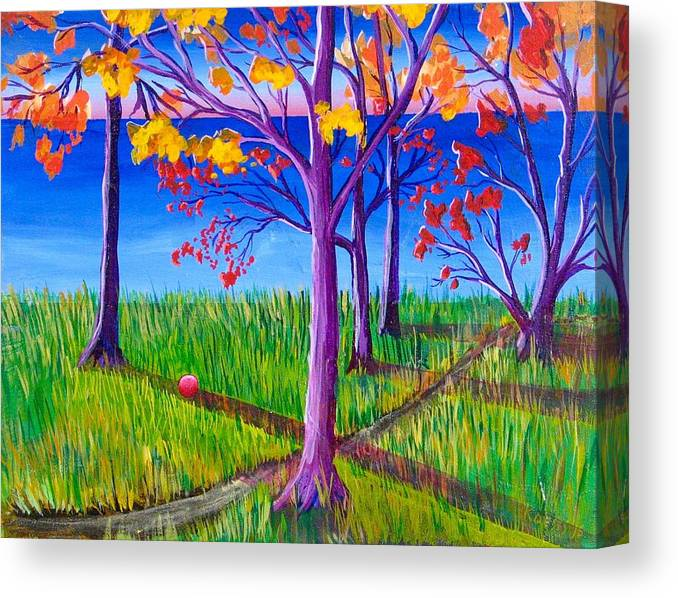 Landscape Canvas Print featuring the painting Ball - Game by Rollin Kocsis