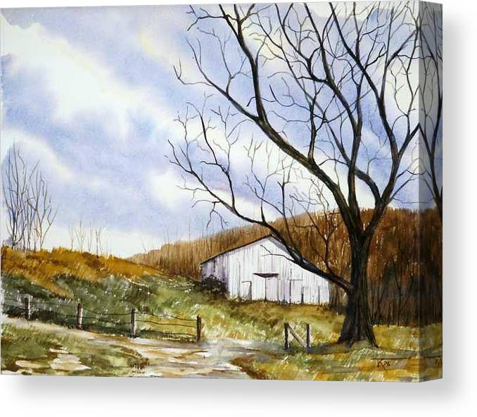Barn Canvas Print featuring the painting Barn At The Stage Stop by Travis Kelley