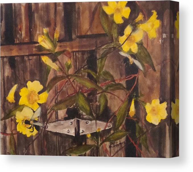Flower Canvas Print featuring the painting Barn Door Hinge by Jean Blackmer