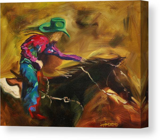 Western Art Canvas Print featuring the painting Barrel Racer by Diane Whitehead