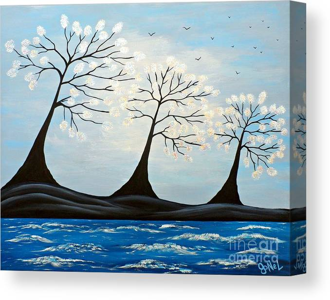 Blue Canvas Print featuring the painting Bay Blue by JoNeL Art