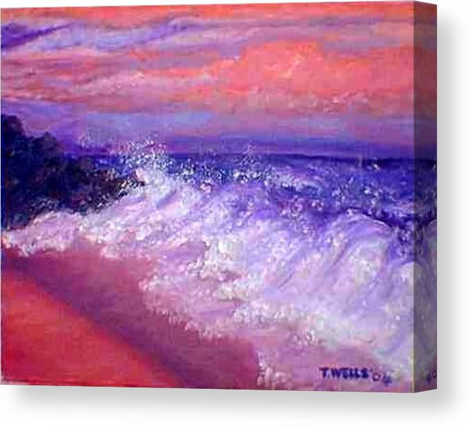 Beach Canvas Print featuring the painting Beach at Sunrise by Tanna Lee M Wells