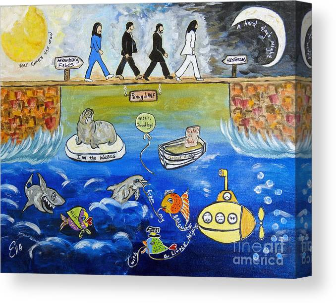 The Beatles Canvas Print featuring the painting Beatles Song Titles Original Painting Characterization by Ella Kaye Dickey