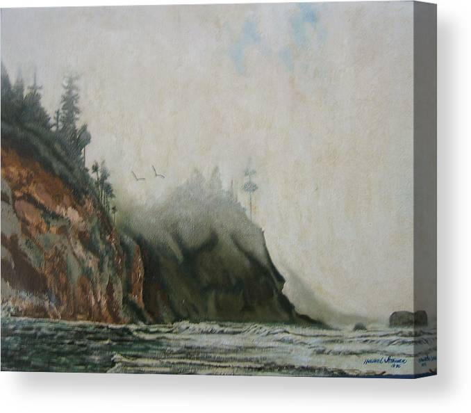 Fog Shrouded Mountains And Water Canvas Print featuring the painting Big Sur by Howard Stroman