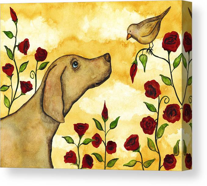 Bird Dog Pets Rose Floral Flower Whimsical Folk Debi Hubbs Art by Debi Hubbs